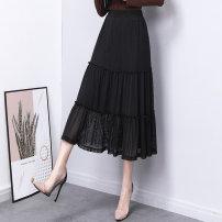 skirt Summer 2021 S M L XL 2XL black longuette commute High waist Irregular Solid color Type A 25-29 years old Chiffon Wanzhang fold