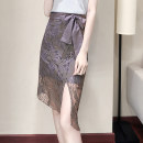 skirt Summer 2021 S M L XL 2XL grey Mid length dress commute High waist Irregular Type A 25-29 years old 2077 skirt 51% (inclusive) - 70% (inclusive) Lace Wanzhang cotton Bow hook cut out zipper Cotton 65% polyamide fiber (nylon) 35% Same model in shopping mall (sold online and offline)