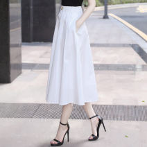 skirt Spring 2021 S M L XL 2XL Black and white Mid length dress commute High waist A-line skirt Solid color Type A 25-29 years old W20421 More than 95% Wanzhang cotton Pleated pocket button Korean version Cotton 100% Same model in shopping mall (sold online and offline)