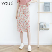 skirt Summer 2020 XS S M L XL 2XL Red flower Mid length dress Versatile High waist skirt Decor Type A 25-29 years old other You Fei Pleated zipper printing Pure e-commerce (online only)
