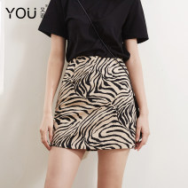 skirt Summer of 2019 XS S M L XL 2XL White apricot Short skirt High waist A-line skirt Zebra pattern Type A 25-29 years old More than 95% other You Fei polyester fiber zipper Polyethylene terephthalate (polyester) 100% Pure e-commerce (online only)