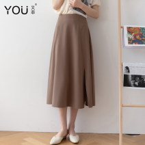 skirt Spring 2021 XS S M L XL 2XL Brown Black Mid length dress commute High waist A-line skirt Solid color Type A 25-29 years old other You Fei zipper Korean version Pure e-commerce (online only)