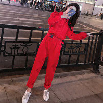 Casual pants Red black red short sleeves black short sleeves rose red short sleeves off white short sleeves S M L XL Autumn of 2019 trousers Jumpsuit High waist Versatile routine HZ1916 Jingjia cotton belt Cotton 93.6% viscose 4.7% polyester 1.7% Pure e-commerce (online only)