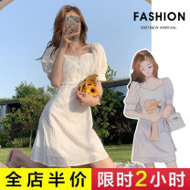Dress Summer 2021 White dress S M L XL Short skirt singleton  Short sleeve commute square neck High waist Solid color Socket A-line skirt routine 18-24 years old Type A Exemplar product Korean version Splicing More than 95% other Other 100%