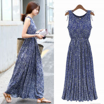 Dress Summer of 2019 S M L XL 2XL 3XL longuette singleton  Sleeveless commute Crew neck Elastic waist Decor Socket other camisole 25-29 years old Type X Exemplar product Korean version Patchwork printing with bow and ruffle More than 95% other Other 100%