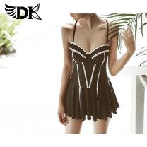 one piece  DK M L XL XXL black Skirt one piece Steel strap breast pad Spandex others dk71231 Summer 2017 female