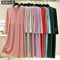 Nightdress Other / other black , light gray , Light blue , Shallow Khaki , blackish green , light pink , Brick red , Taro purple , Lotus root powder Average size (80-120 Jin recommended), plus size (120-160 Jin recommended) Sweet Long sleeves Leisure home longuette spring V-neck Modal fabric