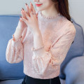 T-shirt S,M,L,XL,2XL Autumn of 2018 Long sleeves Crew neck easy have cash less than that is registered in the accounts routine commute cotton 96% and above 18-24 years old Korean version youth Plants, flowers, splicing Asymmetry, pleating, splicing, three-dimensional decoration, lace, pleating