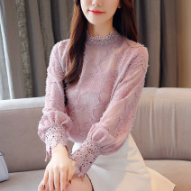 Lace / Chiffon Winter of 2018 Pink Plush, white plush XXL,S,M,L,XL Long sleeves commute Socket singleton  Self cultivation Regular stand collar other bishop sleeve 25-29 years old BY18255 Stitching, lace Korean version