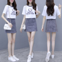 Dress Summer of 2019 Blue, red S,M,L,XL Short skirt Two piece set Short sleeve commute Crew neck High waist lattice Socket A-line skirt routine Others 25-29 years old Type A Korean version printing other