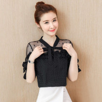 Lace / Chiffon Summer 2020 Black, white S,M,L,XL,2XL Short sleeve commute Socket singleton  easy Regular Crew neck Dot pagoda sleeve 25-29 years old CM2020QA8335 Pleating, pleating, lacing, stitching, mesh Korean version