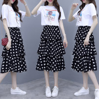 Dress Summer of 2019 M,L,XL,2XL,3XL Mid length dress Two piece set Short sleeve commute Crew neck High waist Dot Socket Cake skirt routine Others 25-29 years old Type A Korean version Three dimensional decoration, printing More than 95% other