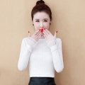 Lace / Chiffon Winter of 2019 White, black, white [Plush], black [Plush] S,M,L,XL,2XL,3XL Long sleeves commute Socket singleton  Self cultivation Regular High collar Solid color Princess sleeve 25-29 years old XZDX1213 court
