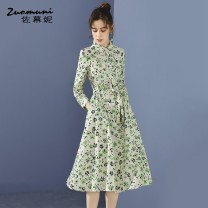 Dress Spring 2021 Decor S M L XL XXL longuette singleton  Long sleeves commute Polo collar Loose waist Broken flowers Single breasted routine 30-34 years old Type H Muzoni Ol style Bow pocket lace up stitching strap button slit Z21CL12605 More than 95% cotton Cotton 100%
