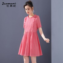 Dress Spring 2021 Pink S M L XL XXL Mid length dress singleton  Short sleeve commute stand collar Loose waist Solid color A button routine 30-34 years old Type H Muzoni Ol style Pleated and pleated Auricularia pocket stitching Z21CL12740 More than 95% cotton Cotton 100%