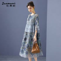 Dress Spring 2021 grey S M L XL XXL XXXL longuette Two piece set three quarter sleeve commute Half open collar Loose waist Decor Socket Big swing routine 30-34 years old Type H Muzoni Ol style Bow cut-out embroidery fold Auricularia auricula hook cut-out lace splicing strap Z21CL12755 More than 95%