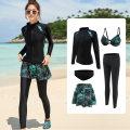 Split swimsuit Five piece set M,L,XL,XXL boxer Steel strap breast pad nylon female