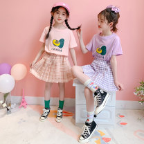 suit Brother Minggui Green, purple, pink 110cm,120cm,130cm,140cm,150cm,160cm,170cm female summer Sweet Short sleeve + skirt 2 pieces Thin money There are models in the real shooting Socket nothing Cartoon animation cotton children Giving presents at school MGx0007 Class B Cotton 90% polyester 10%