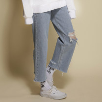 Jeans Spring 2021 Blue in stock XS,S,M,L trousers High waist Straight pants routine 18-24 years old Cotton denim At-NEATO 96% and above