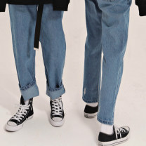 Jeans Spring 2021 Blue in stock XS,S,M,L trousers High waist Straight pants routine 18-24 years old Wash, embroidery, zipper, metal decoration Cotton denim Dark color CK0626 At-NEATO 96% and above