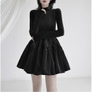 Dress Spring 2021 black S,M,L Short skirt singleton  Long sleeves commute Crew neck High waist Solid color Socket A-line skirt routine 25-29 years old Type A bow polyester fiber