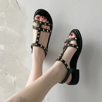 Sandals 35,36,37,38,39 Black, beige PU Warrior / Huili Round head Flat bottom Low heel (1-3cm) Spring 2021 Frenulum Korean version Solid color Adhesive shoes Youth (18-40 years old) rubber daily Front and rear trip strap Buckles, platform, thick heel, muffin heel, cross strap, shallow mouth Low Gang