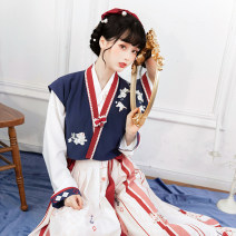 National costume / stage costume Spring 2021 Beizi + cross collar blouse + pleated skirt (three piece set) S,M,L S1811 Chi Xia