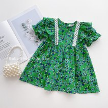 Dress goods in stock female Other / other 5, 120cm, 4, 110cm, 3, 100cm, 2, 90cm, 1, 80cm Cotton 80% other 20% summer Korean version Short sleeve Broken flowers other Princess Dress B2803 Chinese Mainland