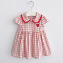 Dress female Other / other 80cm,90cm,100cm,110cm,120cm,130cm,70cm Cotton 80% other 20% summer Korean version Skirt / vest lattice cotton Pleats other 12 months, 6 months, 9 months, 18 months, 2 years, 3 years, 4 years Chinese Mainland