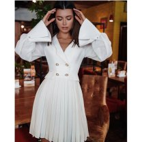 Dress Winter 2016 white S,M,L,XL Middle-skirt singleton  Long sleeves tailored collar middle-waisted Solid color zipper Pleated skirt other 25-29 years old Other / other Splicing Nail bead