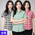 shirt Red, green, black, decor, lotus root, 409, 001, 502, 335, 6, 7, 14 Spring of 2019 cotton 96% and above Long sleeves square neck Single row multi button lattice 40-49 years old ZH short sleeve shirt