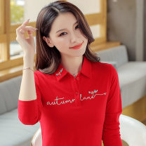 T-shirt Red royal blue rose pink orange M L XL 2XL 3XL 4XL Autumn of 2019 Long sleeves Polo collar Self cultivation Regular routine commute cotton 86% (inclusive) -95% (inclusive) 30-39 years old Korean version originality Plants and flowers Milton printing Pure e-commerce (online only)