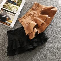 skirt Spring 2021 M. L, XL, 2XL, 3XL, 4XL, one size smaller Black, light brown, leopard print Short skirt Versatile High waist High waist skirt Solid color Type A