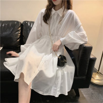 Women's large Autumn 2020 White black S M L Dress singleton  commute easy thin Socket Long sleeves Korean version stand collar routine other Chiffon 18-24 years old 31% (inclusive) - 50% (inclusive) Medium length Polyester 65% Cotton 30% polyurethane elastic fiber (spandex) 5% other