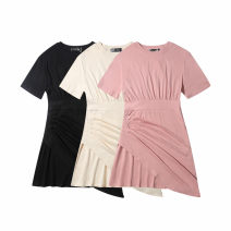 Dress Summer 2021 Black, grey, pink S,M,L,XL Short skirt singleton  Short sleeve commute Crew neck High waist Solid color Socket Irregular skirt routine Others fold 30% and below other other