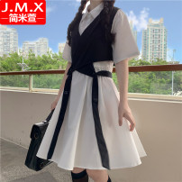 Dress Summer 2020 S M L XL 2XL Mid length dress Two piece set Short sleeve commute Polo collar High waist Solid color Socket A-line skirt routine Others 18-24 years old Type A Jane mixuan Korean version Splicing 51% (inclusive) - 70% (inclusive) cotton Cotton 65% polyester 35%
