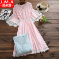 Dress Summer of 2019 Pink Green S M L XL Mid length dress singleton  elbow sleeve commute Crew neck High waist Solid color Socket A-line skirt Others 18-24 years old Type A Jane mixuan Korean version Tassel splicing LJ19032817 51% (inclusive) - 70% (inclusive) cotton Cotton 65% polyester 35%
