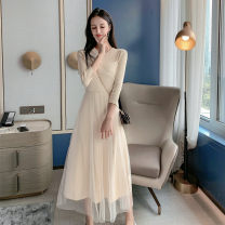 Dress Autumn of 2019 Black apricot S M L Mid length dress singleton  Long sleeves commute Crew neck High waist Solid color Socket A-line skirt routine Others 18-24 years old Type A Zhifu Korean version Button mesh stitching More than 95% other Other 100% Pure e-commerce (online only)
