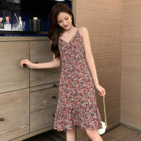 Dress Summer 2020 Yellow green black red S M L XL 2XL Mid length dress singleton  Short sleeve commute V-neck High waist Decor Socket A-line skirt routine camisole 18-24 years old Type A Zhifu Korean version Ruffle print LGRP28965 More than 95% Chiffon other Other 100% Pure e-commerce (online only)