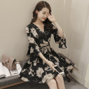Dress Summer of 2019 M L XL 2XL Middle-skirt singleton  three quarter sleeve commute V-neck High waist Decor Socket Big swing Lotus leaf sleeve Others 25-29 years old Zhifu Korean version Ruffle printing More than 95% Chiffon other Other 100% Pure e-commerce (online only)