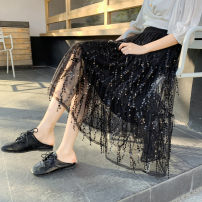 skirt Spring 2021 Average size (80-135 Jin recommended) White, black, apricot Mid length dress commute Natural waist A-line skirt Solid color Type A 18-24 years old More than 95% Zhifu other Sequin mesh stitching Korean version Other 100% Pure e-commerce (online only)
