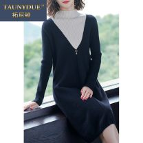 Women's large Winter 2020 Black apricot blue M L XL XXL 3XL 4XL 5XL Dress singleton  commute easy thick Socket Long sleeves Solid color Korean version High collar Medium length Three dimensional cutting routine Taunydue / tonyton 96% and above longuette Other 100% Pure e-commerce (online only)
