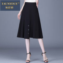 skirt Spring 2021 M L XL 2XL 3XL 4XL black Mid length dress High waist More than 95% Taunydue / tonyton other Other 100% Pure e-commerce (online only)