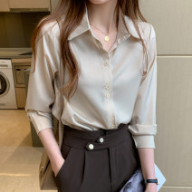 shirt Black champagne retro green pink shrimp pink white blue S M L XL 2XL Autumn 2020 other 96% and above Long sleeves commute Medium length Polo collar Single row multi button routine Solid color 25-29 years old Straight cylinder Fashang dream Ol style GLWP56548 Button Other 100%