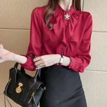 shirt White, red, blue S M L XL 2XL 3XL Autumn 2020 other 96% and above Long sleeves commute Medium length stand collar Single row multi button routine Solid color 25-29 years old Straight cylinder Fashang dream Ol style bow Other 100% Pure e-commerce (online only)