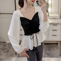 short coat Autumn 2020 S M L XL white Long sleeves Medium length Thin money singleton  Self cultivation commute bishop sleeve square neck other 25-29 years old Fashang dream 96% and above Ruffle with lace other Other 100% Pure e-commerce (online only)