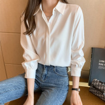 shirt white S M L XL 2XL Spring 2021 other 96% and above Long sleeves commute Medium length Polo collar Single row multi button shirt sleeve Solid color 25-29 years old Straight cylinder Fashang dream Ol style Splicing Other 100% Pure e-commerce (online only) Chiffon