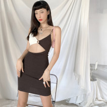 Dress Summer 2020 Brown brown S,M,L Short skirt singleton  Sleeveless commute V-neck High waist Solid color Socket One pace skirt routine camisole 25-29 years old Type A Three ratels / three honey badgers Backless, asymmetric K20D09319 91% (inclusive) - 95% (inclusive) polyester fiber