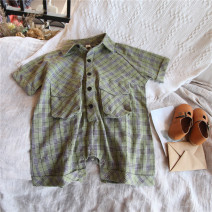 trousers Other / other neutral 80cm,90cm,100cm,110cm,120cm,130cm,140cm Green check jumpsuit, blue red check Jumpsuit Pant Cotton and hemp 12 months, 9 months, 18 months, 2 years old, 3 years old, 4 years old, 5 years old, 6 years old, 7 years old, 8 years old