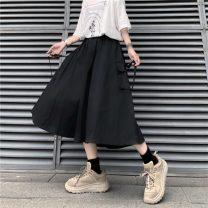 skirt Summer 2020 S,M,L,XL Apricot, dark grey, black Mid length dress A-line skirt Type A